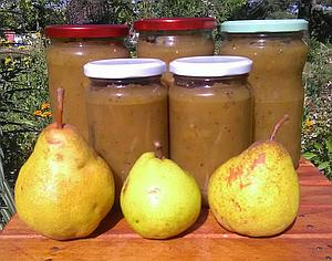 Herbed pear jam with rosemary