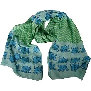 Elephant Scarf – Blue with Blue Elephants/Green Zigzags