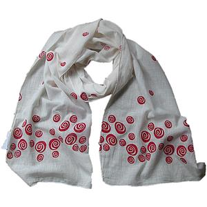 Red Rose Scarf - White