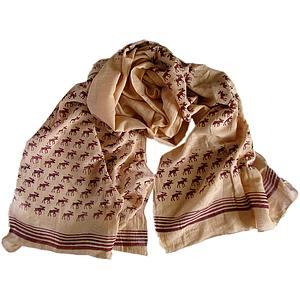 Moose Print Scarf – Cream with Red Moose