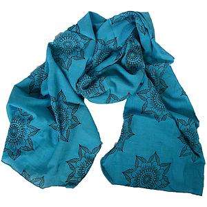 Preeti Handwoven Flower Scarf – Turquoise
