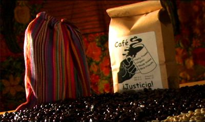 Cafe Justicia. Campaign fair trade is not for sale