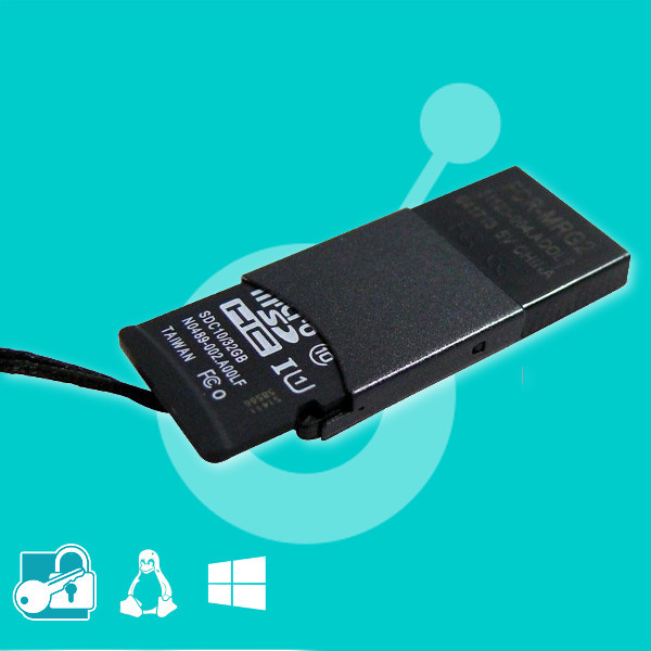Encrypted microSD 16Gb + USB adapter